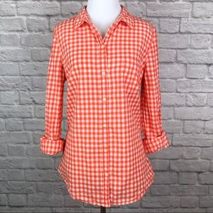 Orange White Gingham Plaid Button Down Shirt Small